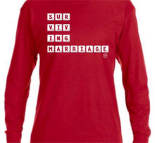 Load image into Gallery viewer, Surviving Marriage Scrabble Tshirt - Black or Red - Short Sleeve & Long Sleeve
