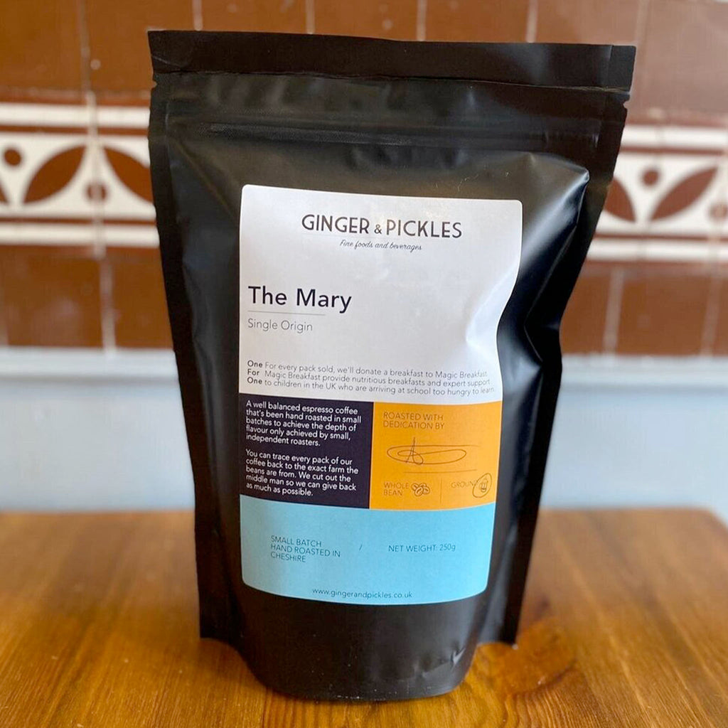 A well balanced espresso coffee with a subtle hint of red fruit sweetness and nutty notes. Locally roasted in small batches, enjoy your Ginger and Pickles coffee ground or whole bean.