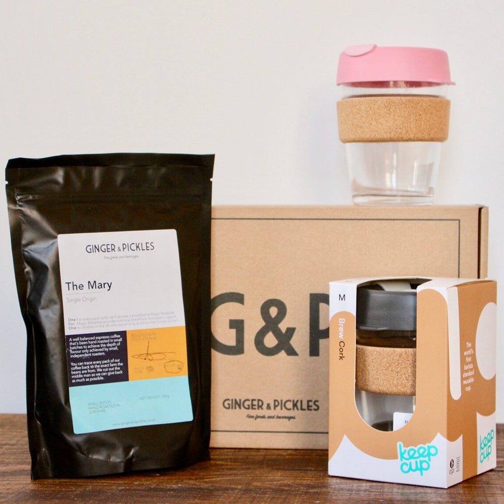 Buy a coffee lover you know our Coffee Lover's Hamper. Filled with locally made sustainable coffee treats straight from the heart of Cheshire. Enjoy your Ginger and Pickles coffee on the go with a trendy and sustainable KeepCup in a colour of your choice.