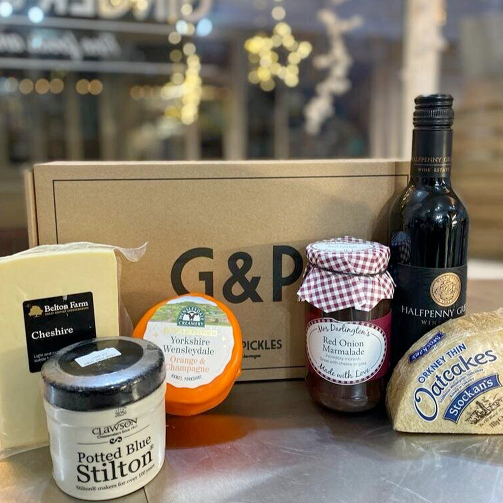 This wine and cheese hamper makes the perfect gift for all the wine and cheese lovers out there. Bursting with local produce this G&P hamper comes with a selection of cheeses, wines and a jar of Mrs Darlington's chutney.