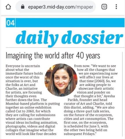 Art and Charlie press coverage Mid-day newspaper