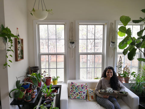 Sunroom with women with airplants