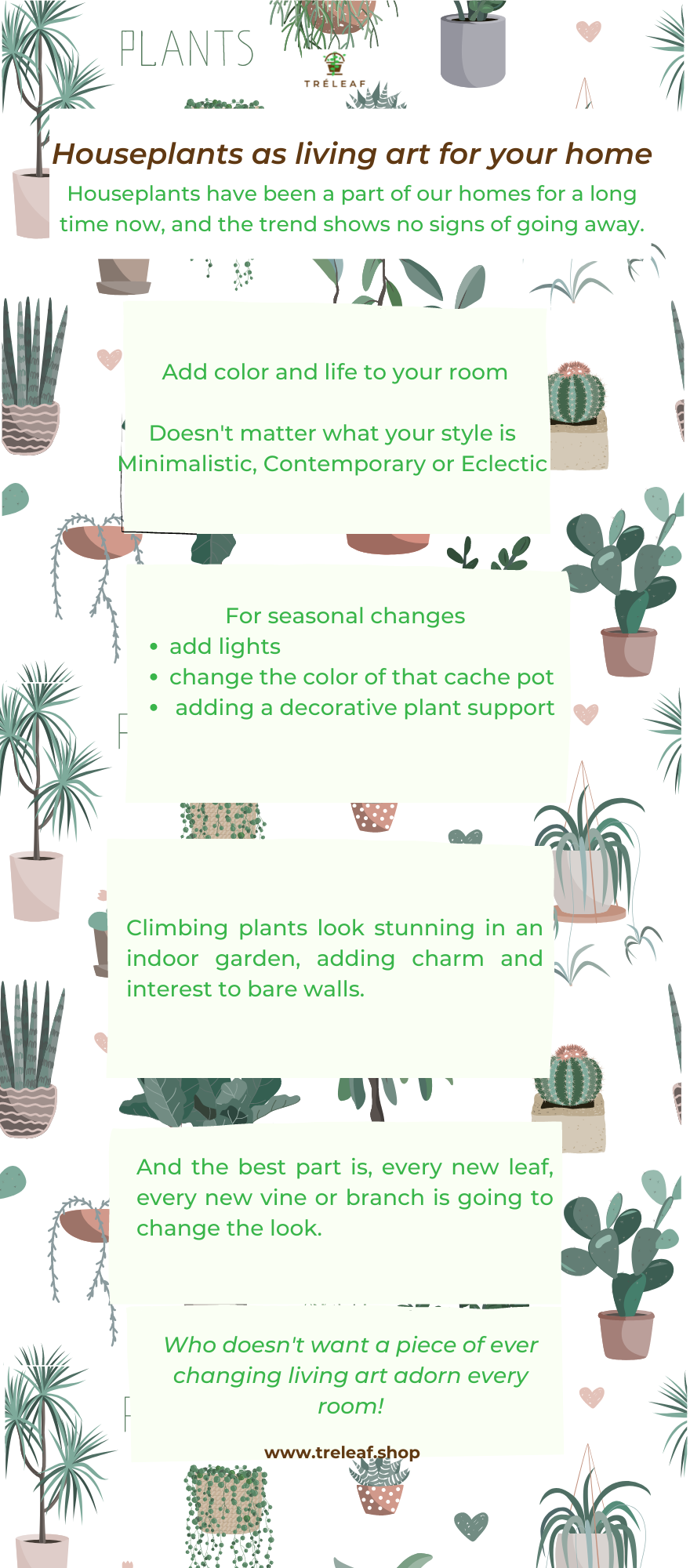 infographic about houseplants as living art for your home