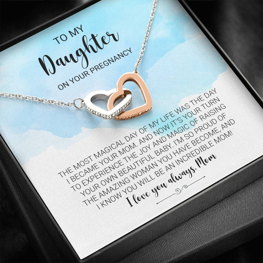 "To My Daughter On Your Pregnancy ""I'm so proud of the amazing woman you have become, and I know you will be an incredible mom! I love you always, Mom""   Interlocking Hearts Necklace"