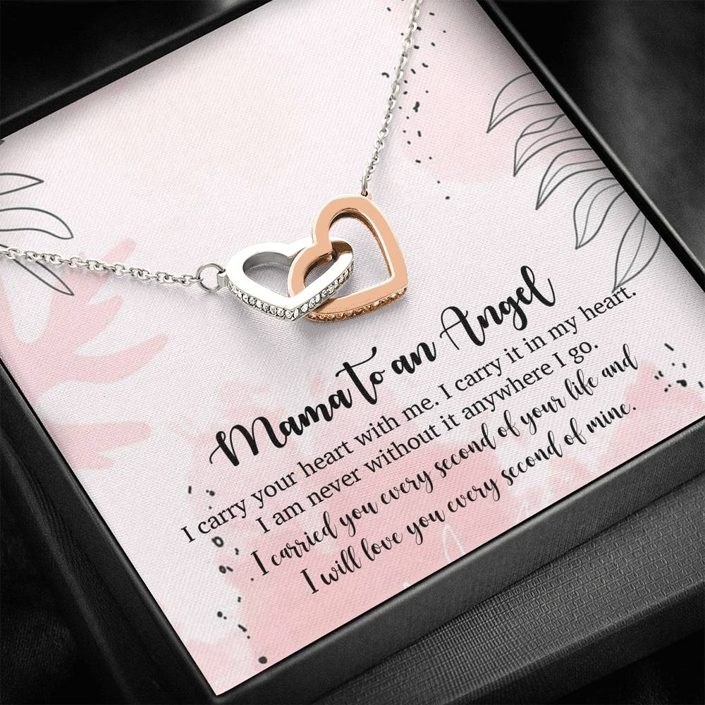 "Mama to an angel - ""I carry your heart with me"" - Interlocking hearts Necklace"
