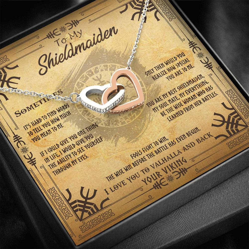 "To My Shieldmaiden ""I Love You To Valhalla And Back"" - Interlocking Hearts Necklace"