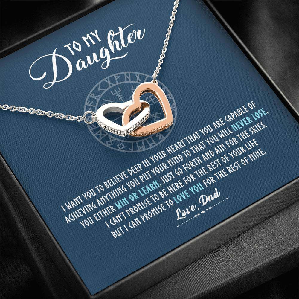 "To my daughter ""I want you to believe deep in your heart"" Interlocking Hearts Necklace"