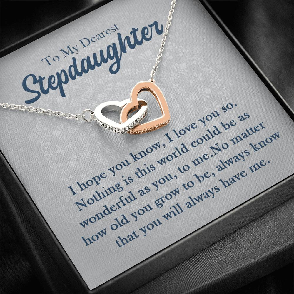 "To my dearest stepdaughter ""I hope you know, I love you so"" Interlocking Hearts Necklace"