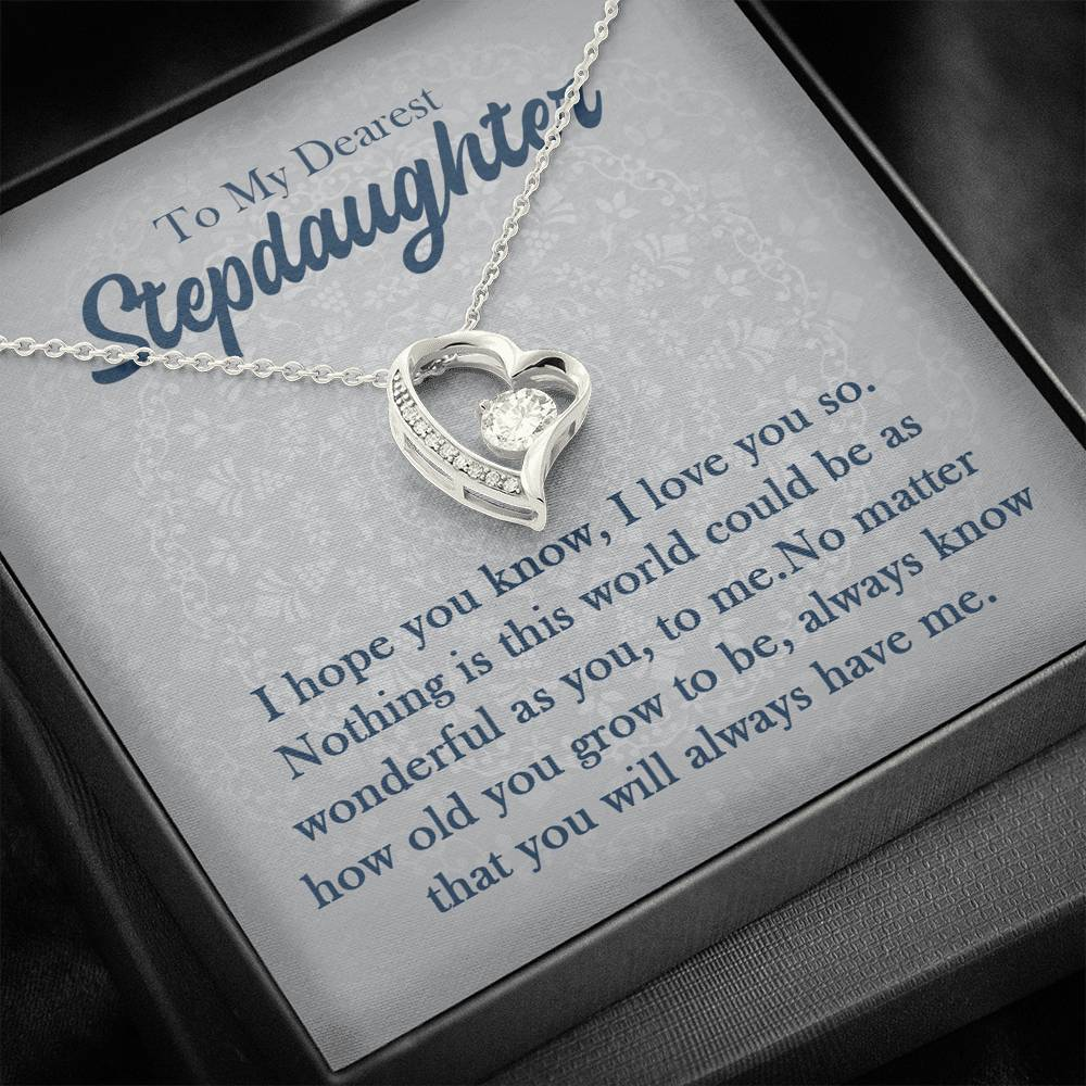 "To my dearest stepdaughter ""I hope you know, I love you so"" Forever Love Necklace"