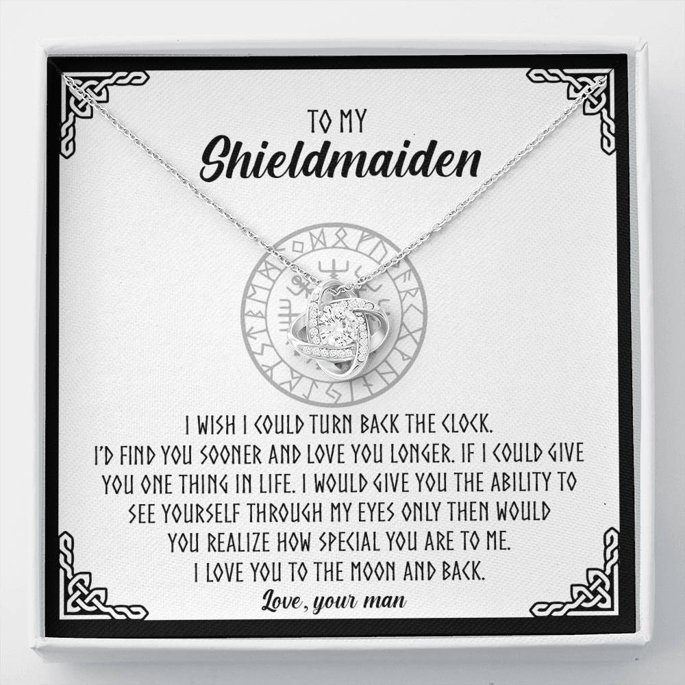 "To My Shieldmaiden""I love you to the moon and back""Love Knot Necklace"