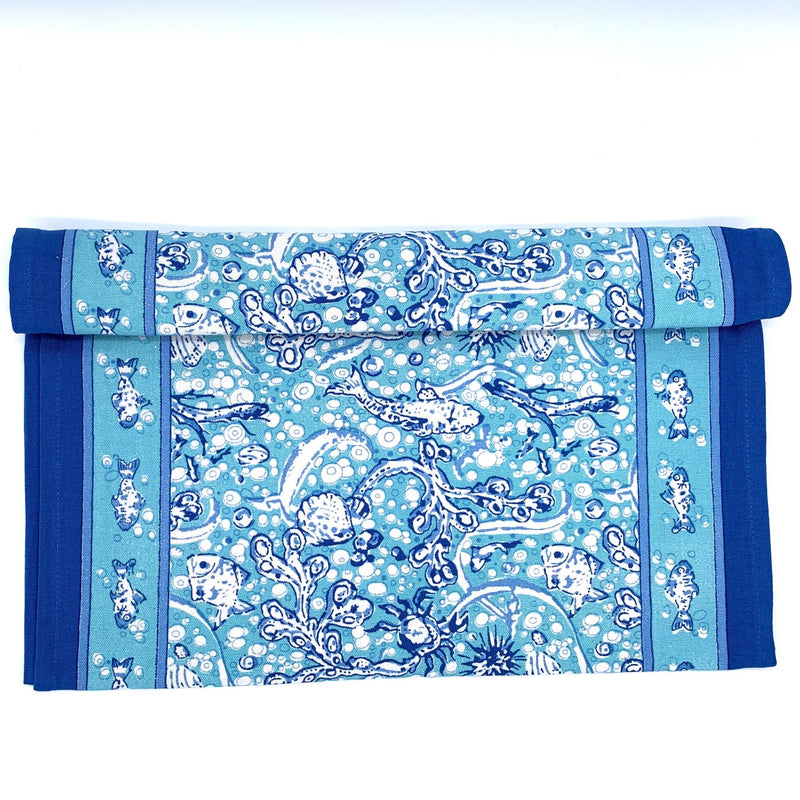 "La Mer Aqua Table Runner 16"" x 72"""