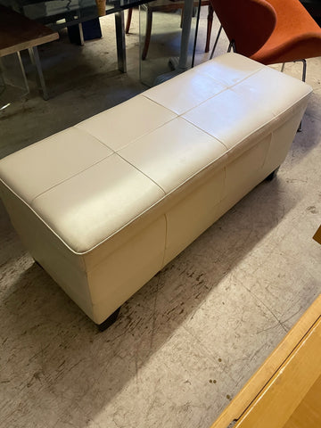 Hollywood Regency White Leather Bench with Storage