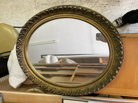 Plastic Oval Ornate Mirror 20x23""
