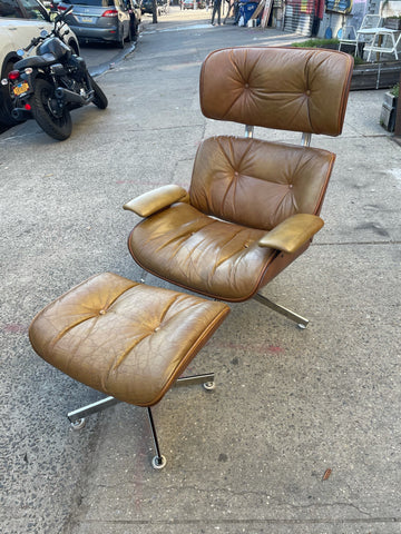 Eames Lounge Chair and Ottoman by Plycraft in Chrome and Tan