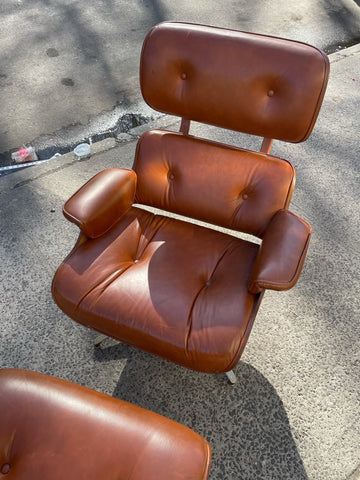 Eames Lounge Chair and Ottoman by Plycraft in Cognac Brown Leather