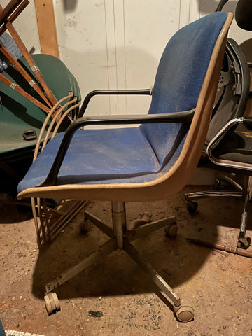 Postmodern Blue and Chrome Vintage Armed Swivel Desk Chair