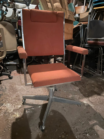 Vintage Orange and Chrome Swivel High-back Desk Chair