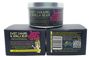 Sweet Caramel & Vanilla Bean Tantric Natural Massage Oil Soy Candle-The Kinky Scientist-Alt Lifestyle Online Adult Sex Toy Store AU