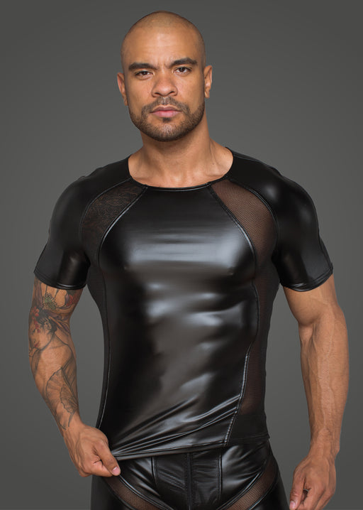 Power Wetlook Men T shirt With 3D Net Black-Noir-Alt Lifestyle Online Adult Sex Toy Store AU