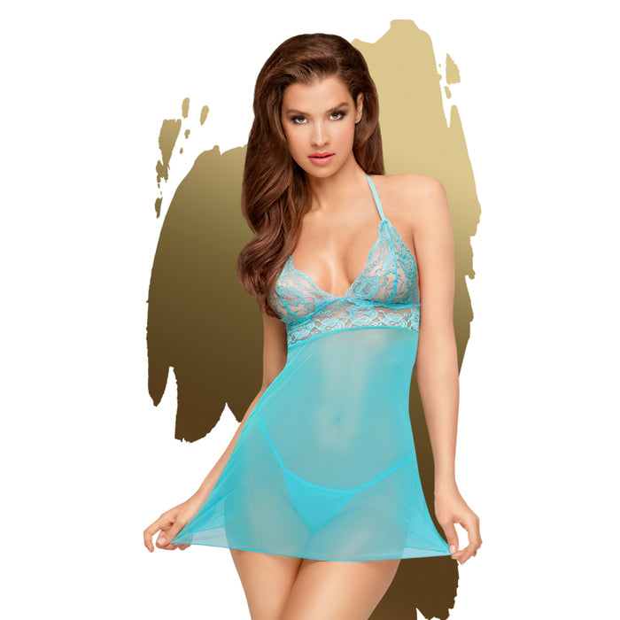 Bedtime Story Mini Dress w Thong Turquoise - Small/Medium-Penthouse-Alt Lifestyle Online Adult Sex Toy Store AU