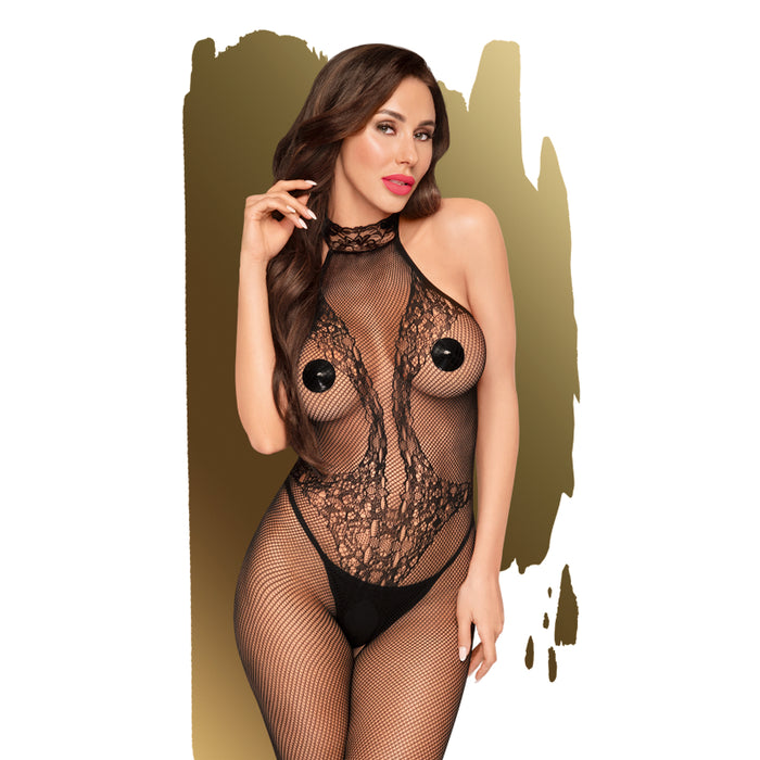 First Lady Crochless Highneck Bodystocking w Lace Details - Extra Large-Penthouse-Alt Lifestyle Online Adult Sex Toy Store AU