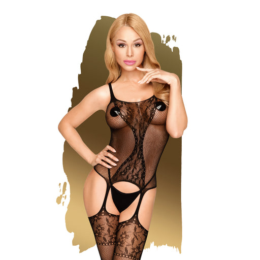 Miss Curvy Net Bodystocking w Lace Detail - Extra Large-Penthouse-Alt Lifestyle Online Adult Sex Toy Store AU