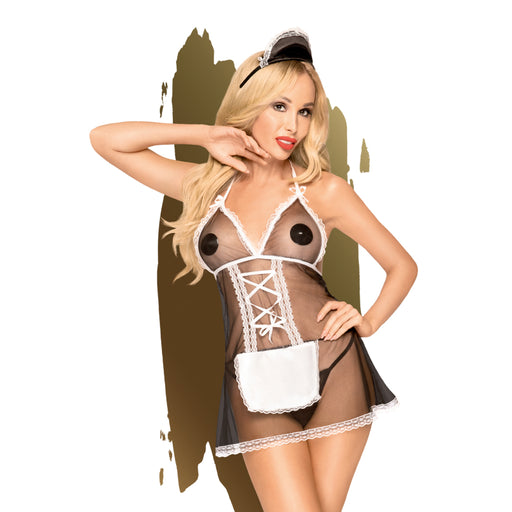 Teaser Mesh Babydoll w Thong and Hairpiece - Medium/Large-Penthouse-Alt Lifestyle Online Adult Sex Toy Store AU