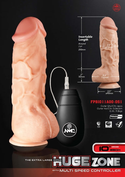 "Huge Zone 10"" Vibrating Dong-Excellent Power-Alt Lifestyle Online Adult Sex Toy Store AU"