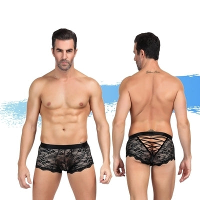 Ashella Lingerie Mica Lace Boxer Brief Black S/M-AAPD-Alt Lifestyle Online Adult Sex Toy Store AU