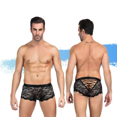 Ashella Lingerie Mica Lace Boxer Brief Black L/XL-AAPD-Alt Lifestyle Online Adult Sex Toy Store AU