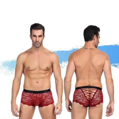 Ashella Lingerie Mica Lace Boxer Brief Red S/M-AAPD-Alt Lifestyle Online Adult Sex Toy Store AU