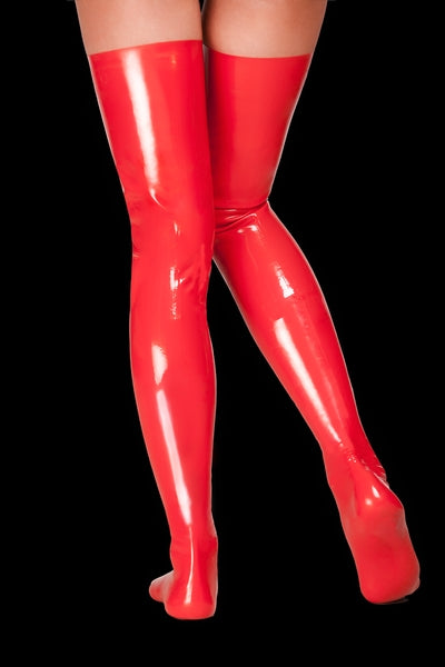 Saxenfelt Latex Long Stockings - Red Small-Saxenfelt-Alt Lifestyle Online Adult Sex Toy Store AU