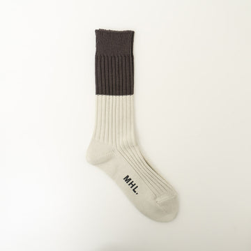 MHL. / 2 TONE RIB SOCK(MHL SHOP限定) col.WHITE