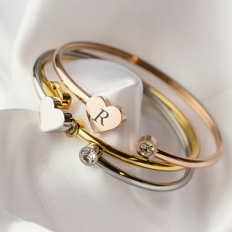 Heart bangle gold