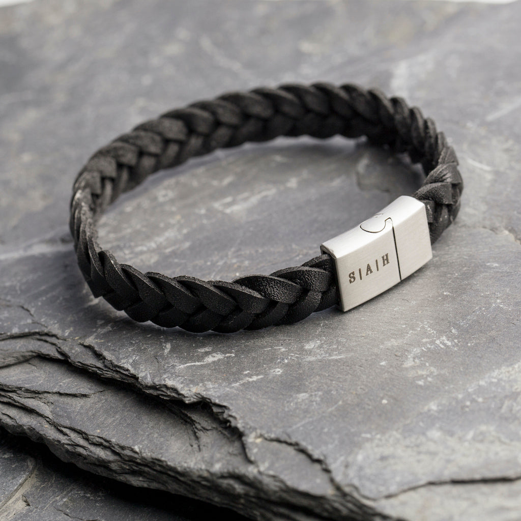 Braided initial leather