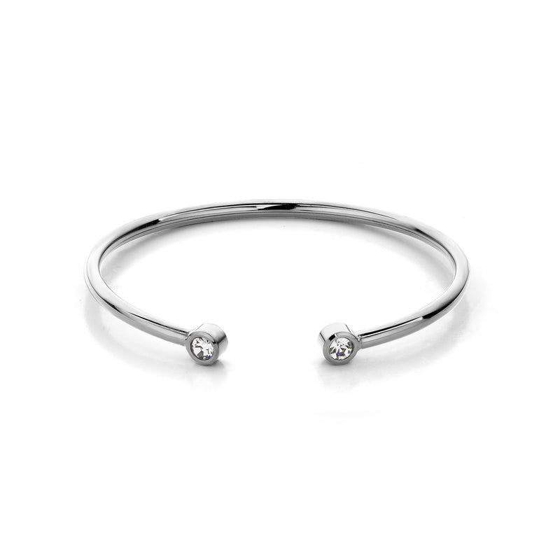 Diamond bangle silver