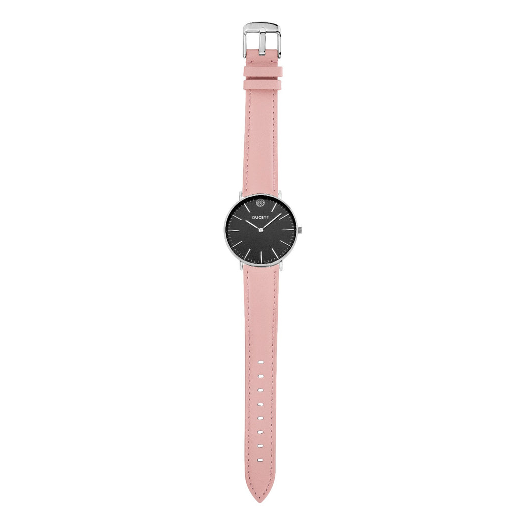 Pink leather strap silver