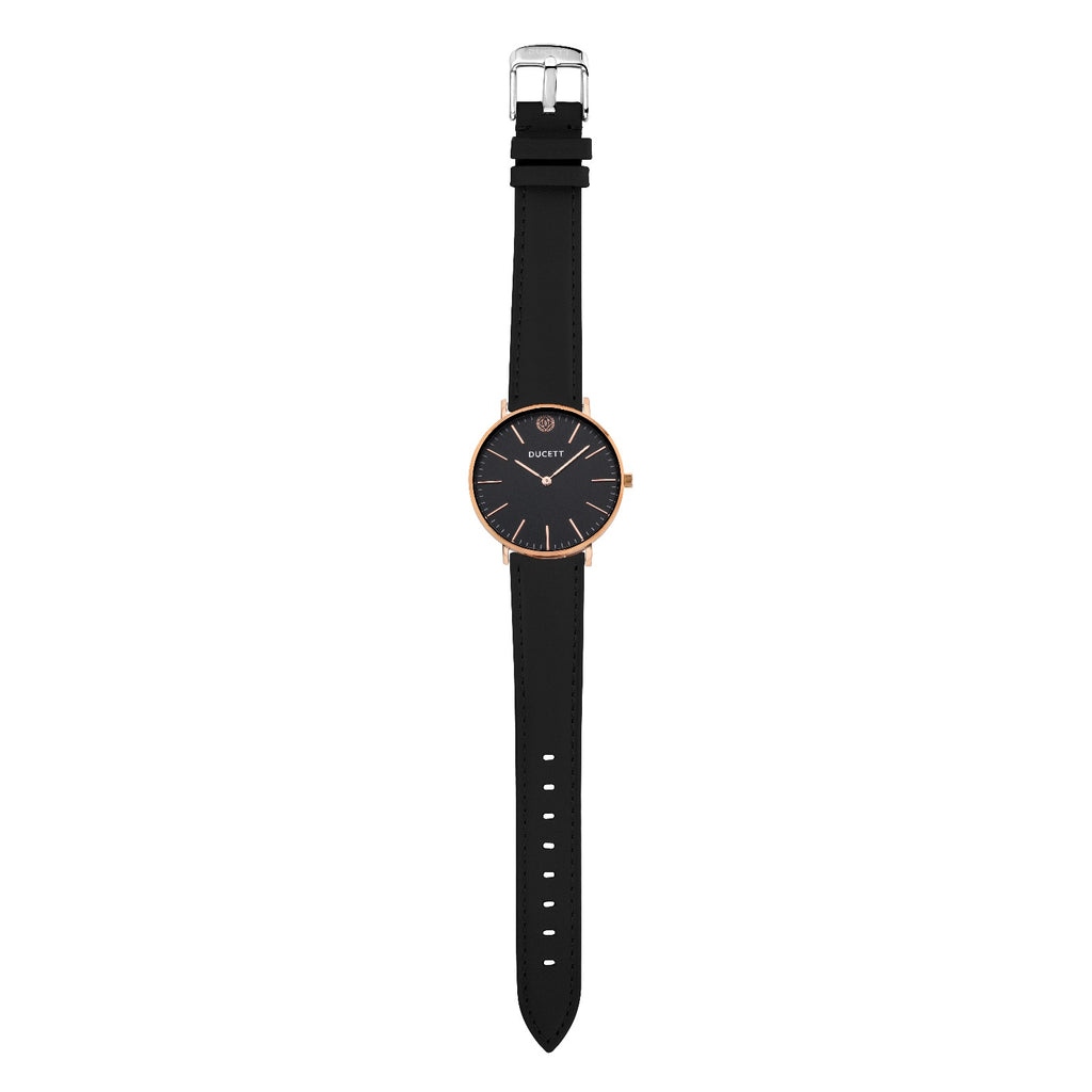Black leather strap silver