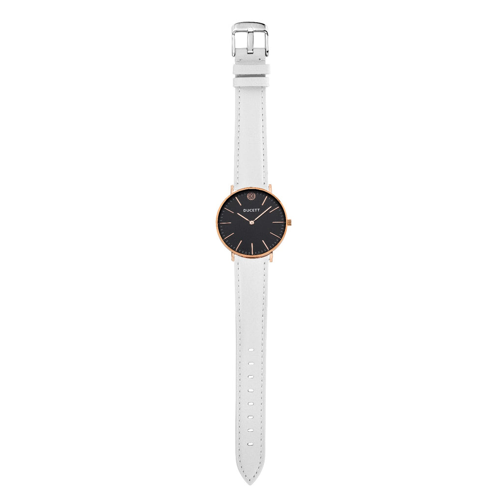 White leather strap silver