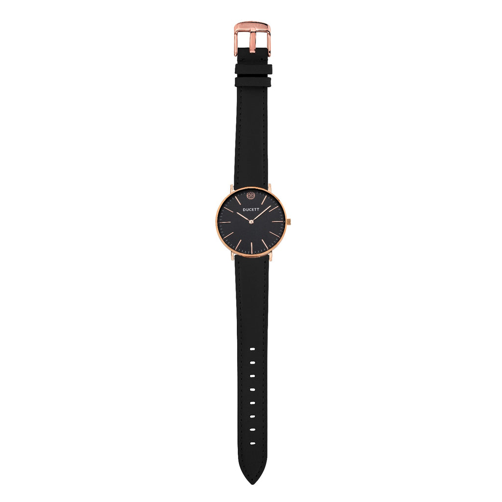 Black leather strap rosé gold