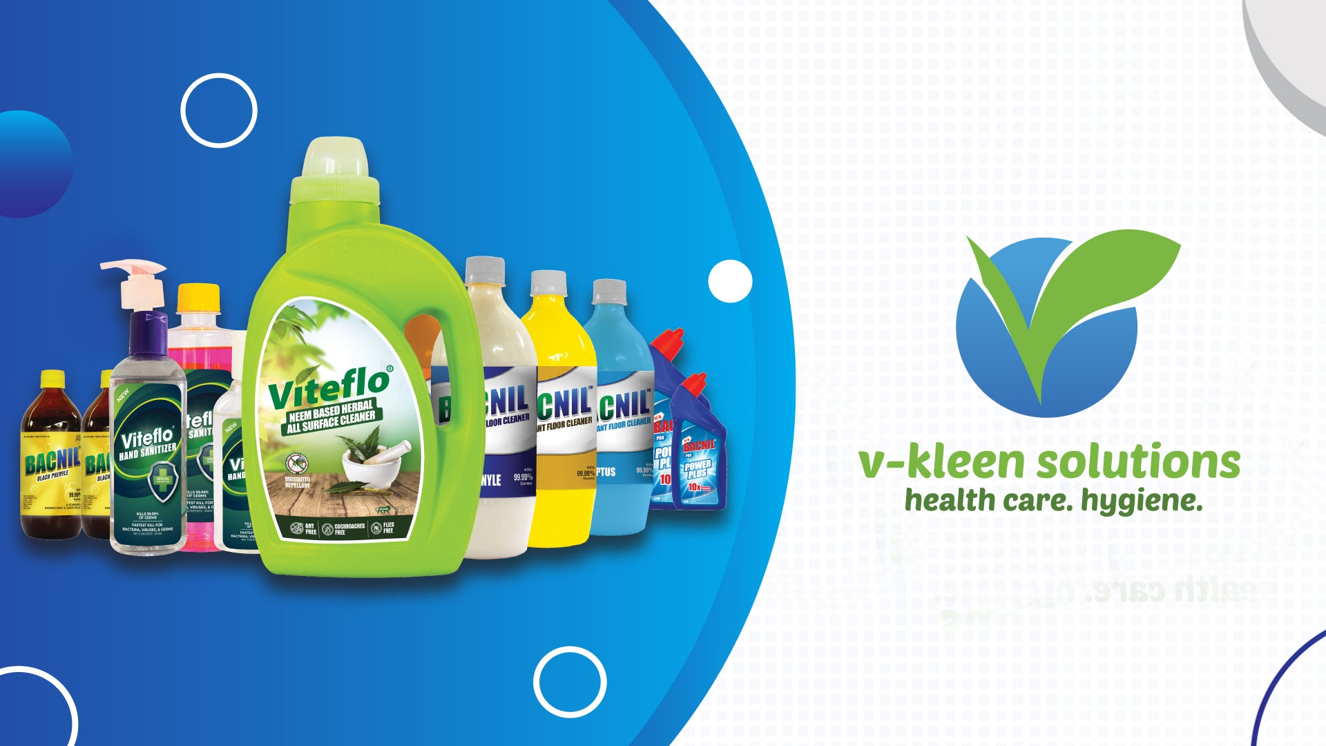 Vkleen products - Floor cleaners , Glass cleaners , All surface cleaners and Sanitizers