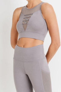 Wrapround Mesh Lace Front Sports Bra & Full Pocket Leggings