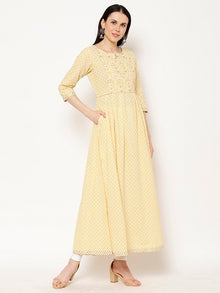 Rama's Yellow foil print Flared Cotton Kurta