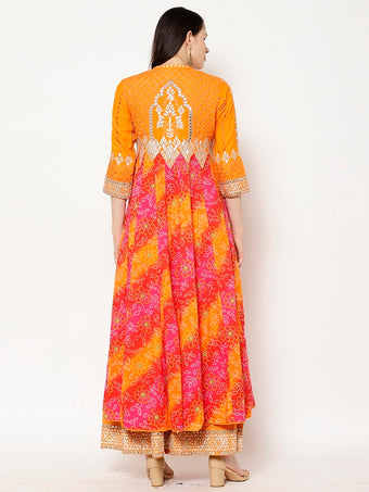 Rama's Orange bandhani Cotton Gota Patti Kurta Skirt Set