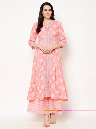 Rama's Peach Block Printed Cotton silk  Kurta Palazzo Set