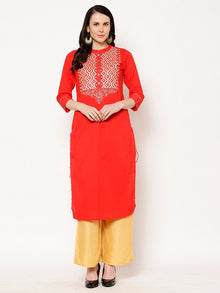 Rama's Red Solid Straight Rayon Embroidered Kurta