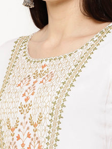 Rama's White Solid Flared Rayon Embroidered Kurta