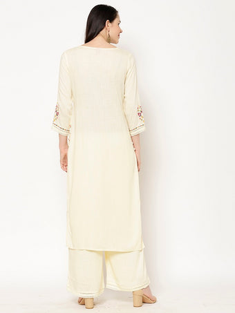 Rama's Off-white Solid Rayon Embroidered Kurta Palazzo Set
