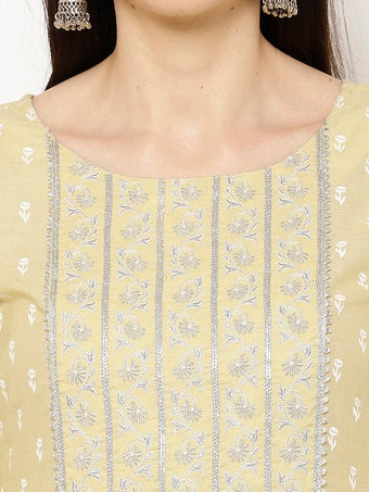 Rama's Yellow foil print Flared Khadi Embroidered Kurta