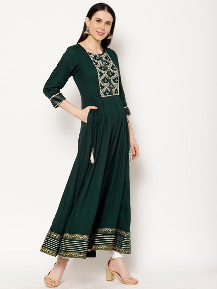 Rama's Olive  Flared Rayon Embroidered Kurta
